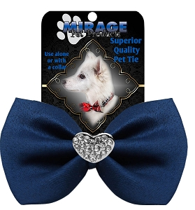 Crystal Heart Widget Pet Bowtie Navy Blue